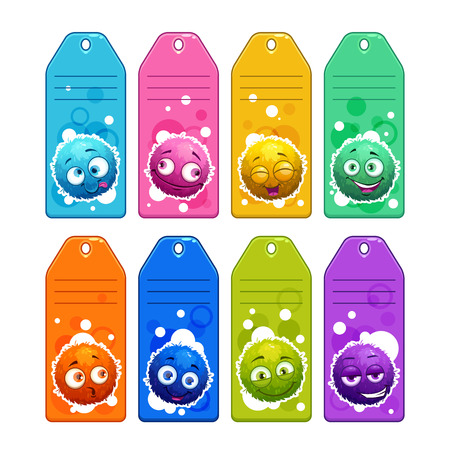 naming: Colorful kids name tags with funny cartoon round fuzzy characters. Illustration