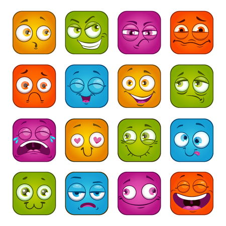 Caras cuadradas coloridas divertidas fijadas.