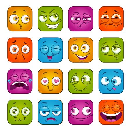 Funny colorful square faces set. Illustration