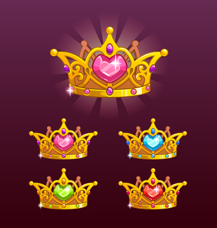 Cool princess crowns set. Illustration