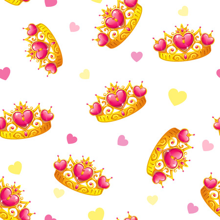 Seamless pattern with cute princess crowns