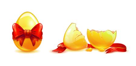 Whole and broken golden egg with red ribbon.