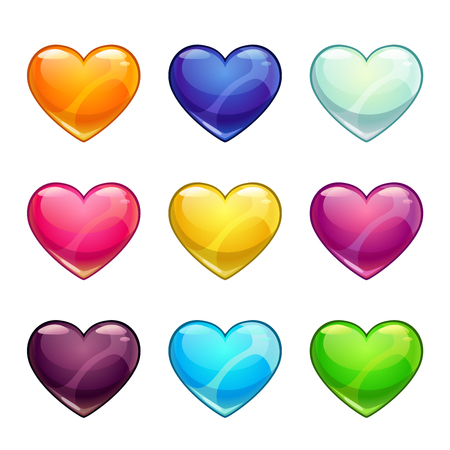 Colorful glossy hearts collection. 矢量图像