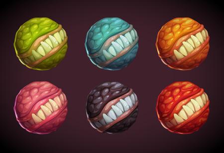 horrid: Cartoon colorful monster planet set.