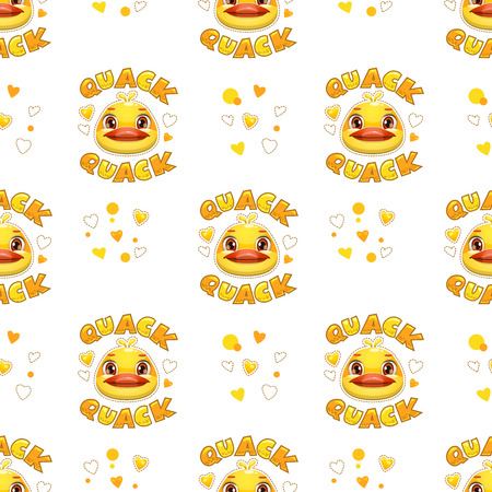 Seamless pattern with funny duck faces. Vector childish texture.