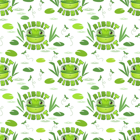 Seamless pattern with funny frog faces. Vector childish texture. Illustration