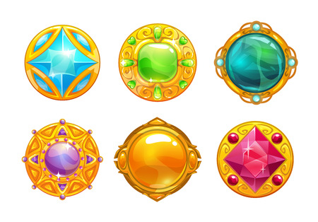 zafiro: Fantasy golden amulets set. Vector round assets for game design. Vectores