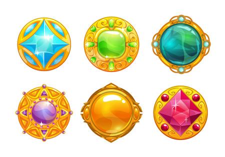 Fantasy golden amulets set. Vector round assets for game design. Illustration