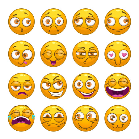 memes: Funny comic cartoon yellow smiley faces set.