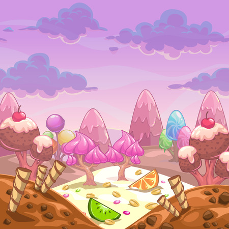 Cartoon vector sweet landscape.