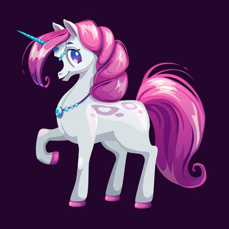 girlish: Cute cartoon unicorn with pink hair.