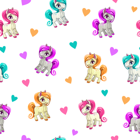 Cute seamless pattern with funny cartoon pony and hearts on white background. Vector girlish texture