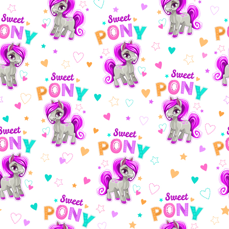 Cute seamless pattern with funny cartoon pony Illustration