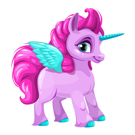 Cute cartoon pegasus icon.