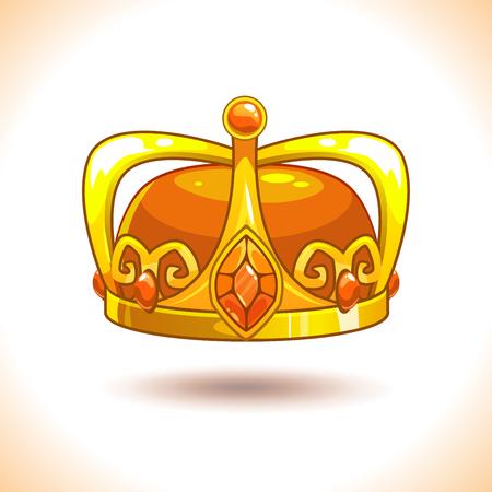Fancy cartoon vector golden crown icon. Illustration
