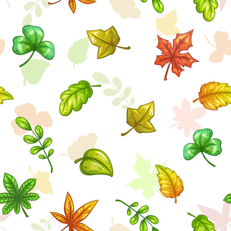 tree logo: Seamless pattern with falling colorful leaves. Illustration