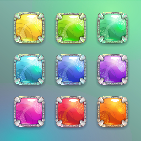 Beautiful colorful cartoon crystal square buttons set.