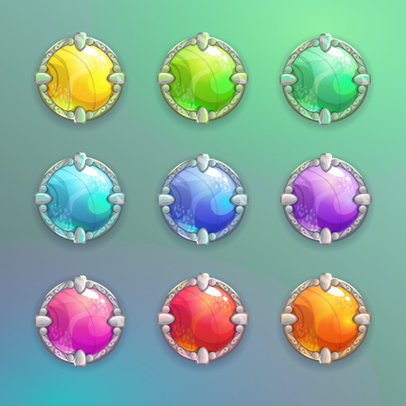 Beautiful colorful cartoon crystal round buttons set.