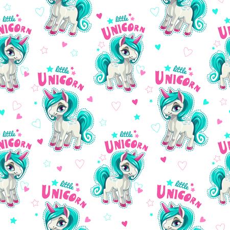 Cute seamless pattern with funny cartoon unicorns.