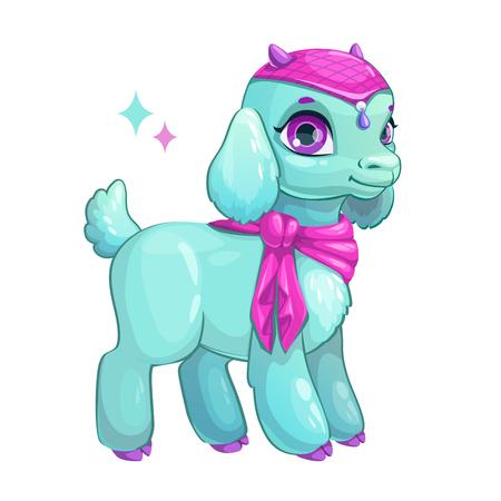 Cute cartoon little goat princess.