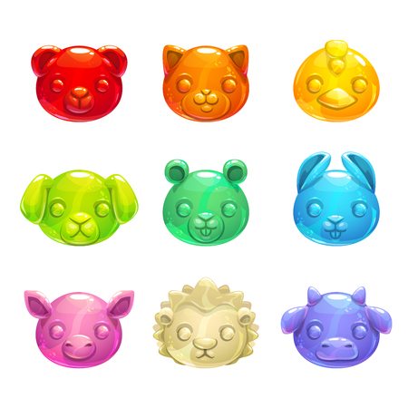 Cute jelly animals faces.