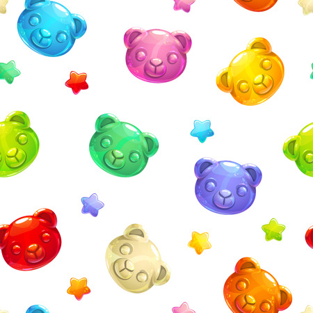 Seamless pattern with cute gummy bears