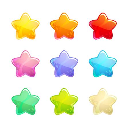 Cartoon glossy colorful stars set.