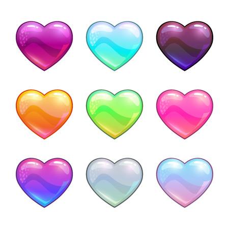 Cartoon colorful glossy hearts.