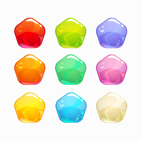 Cartoon colorful jelly candies set, isolated vector icons on white background.