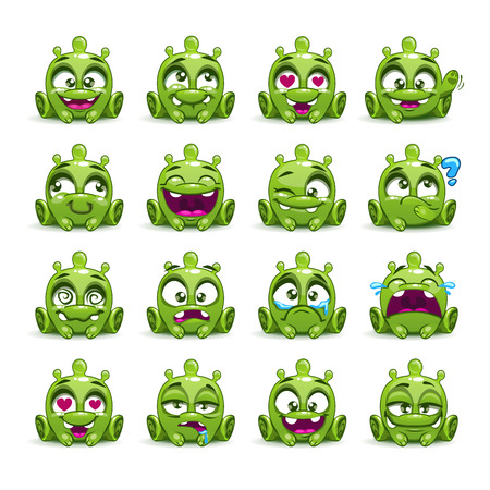 child sitting: Little cute funny green alien with different emotion on the face. Vector emoji monster set.