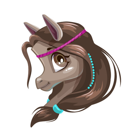 indian teenager: Cute little young pony with brown hair and violet hair accessories. Illustration
