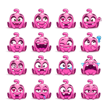 child sitting: Little cute funny pink alien set.
