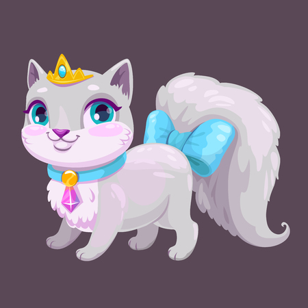 Little cute cartoon kitty princess.