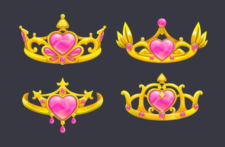royal person: Cartoon golden princess crowns set.