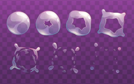 combination: Transparent soap bubble burst sprites. Vector frames for animation. GUI assets. Illustration