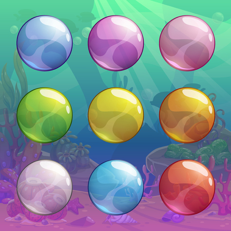 Colorful cartoon glossy transparent bubbles set on the underwater background. Vector assets for game or web design. Illustration