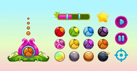 ladybug: Cute vector assets for game design. GUI elements set.