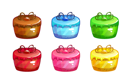 Cartoon colorful cakes set. Sweet icons on white background. Illustration