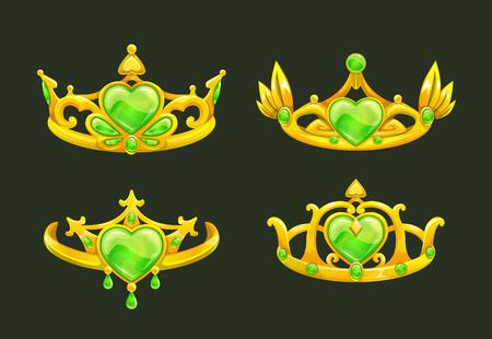 royal person: Cartoon golden princess crowns set. Vector icons on dark background. Illustration