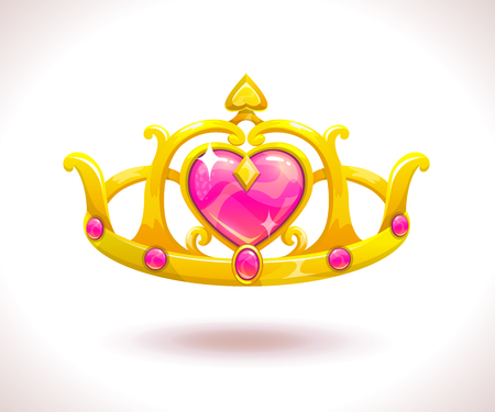 royal person: Beautiful golden princess crown with pink ruby hearts. Vector cartoon diadem icon.