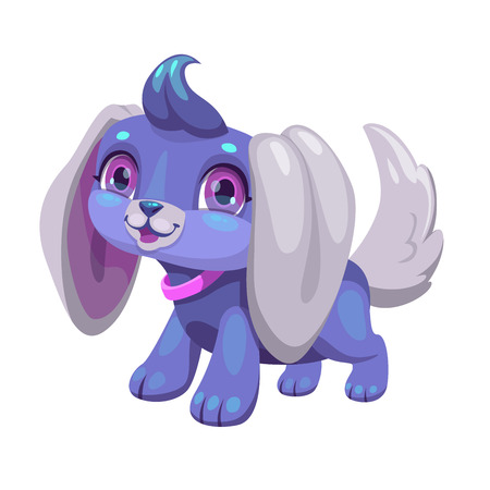 Cute blue cartoon puppy. Pretty dog toy. Isolated little funny pet icon on white background.