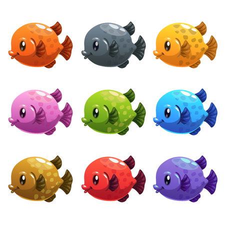 Cute cartoon colorful fishes set