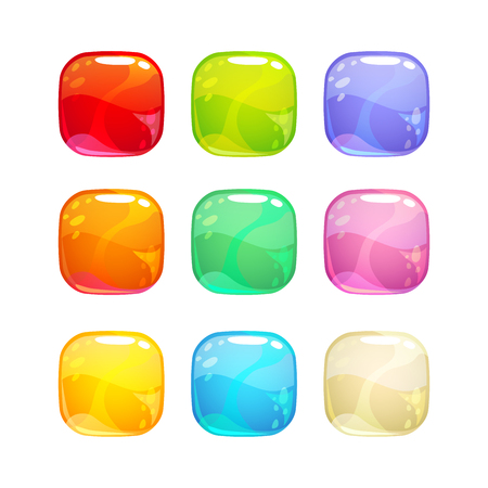 Colorful glossy jelly candies set.