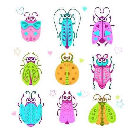 girlish: Cute cartoon bugs set.