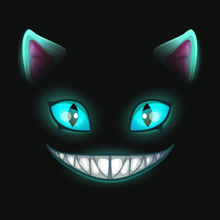 Fantasy scary smiling cat face on black background.