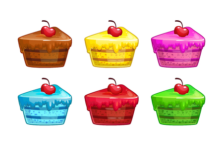 Cartoon colorful cakes set. Illustration