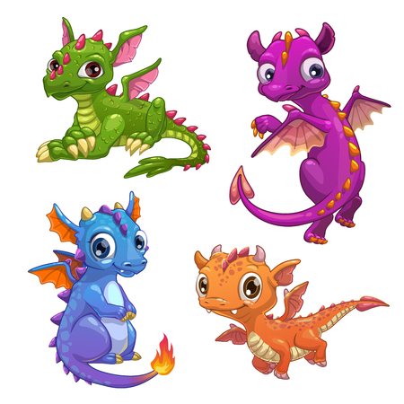 Little dragons set. Illustration