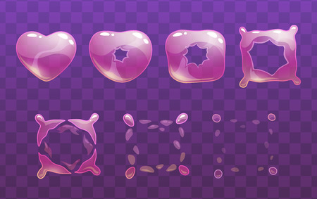 Transparent heart bubble burst sprites.