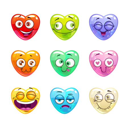 Funny cartoon colorful glossy heart characters