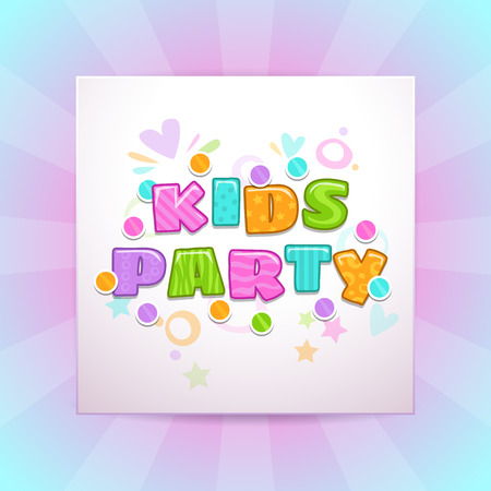 Kids party vector square banner. Illustration
